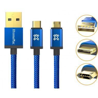 Cabo balístico reversível USB-C para USB-A