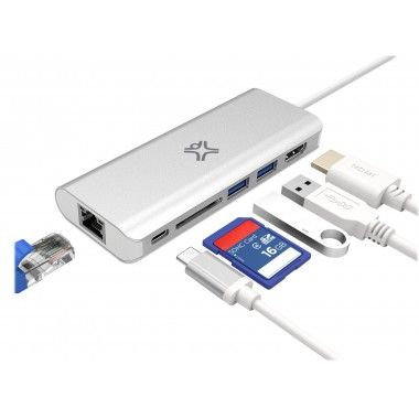 HUB Plus-C - HDMI + 2 USB-A + cartão SD + USB-C + Ethernet