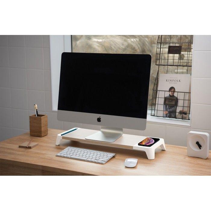 Base computador em madeira c/ carregamento s/ fios