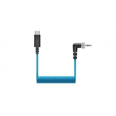 Cabo enrolado TRS 3.5mm para USB-C